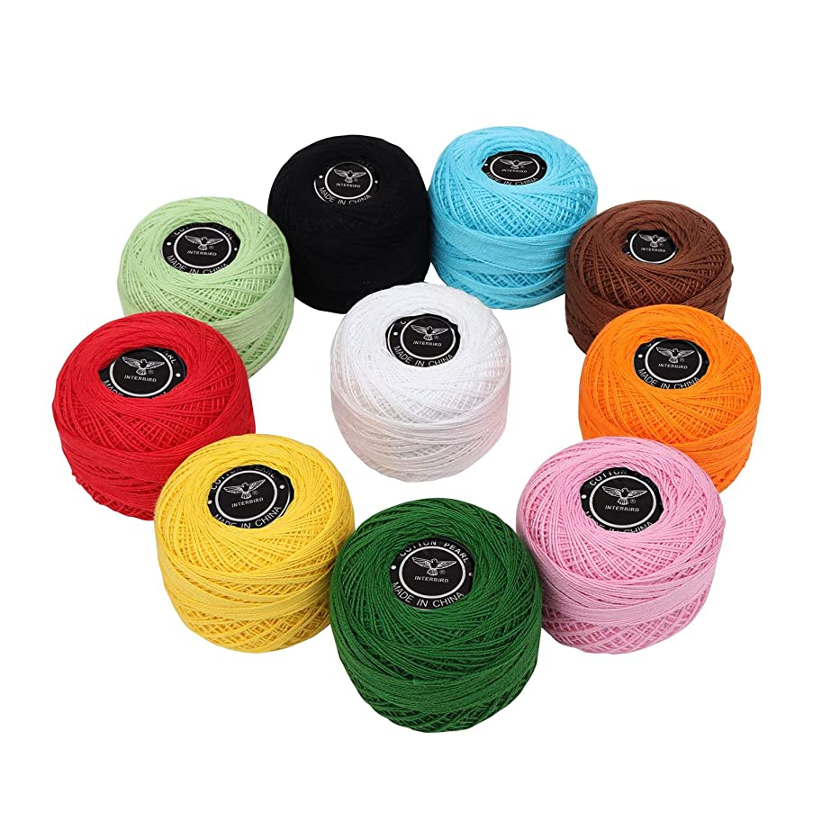 Crochet Thread (10 Pack) Cotton Yarn Threads Balls - 170 Meters Plain Design Assorted Colors - Pearl Cotton Crochet Yarn Crochet Hardanger Cross Stitch Needlepoint Hand Embroidery