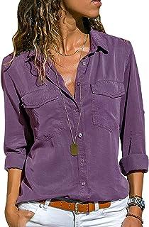 bc7875c241 Camicia Chiffon Donna Camicette Oversize Camicie Manica Lunga Scollo V  Blusa Cerimonia Signora Eleganti Camicetta Bluse