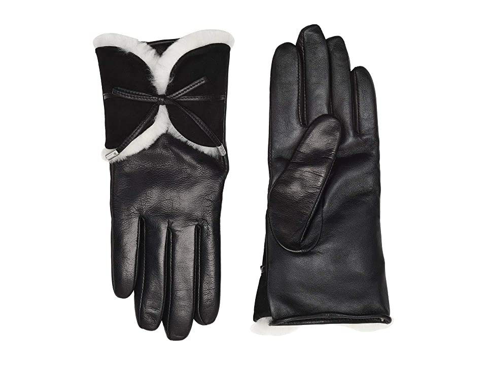 UGG Combo Sheepskin Trim and Leather Tech Gloves (Black Multi) Extreme Cold Weather Gloves