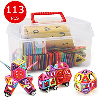 Banne Magnetic Blocks,113PCS Magnetic Building Blocks Tiles Educational Toy Set with Instruction Booklet and Storage Box for Kids 3 Year Old and Up