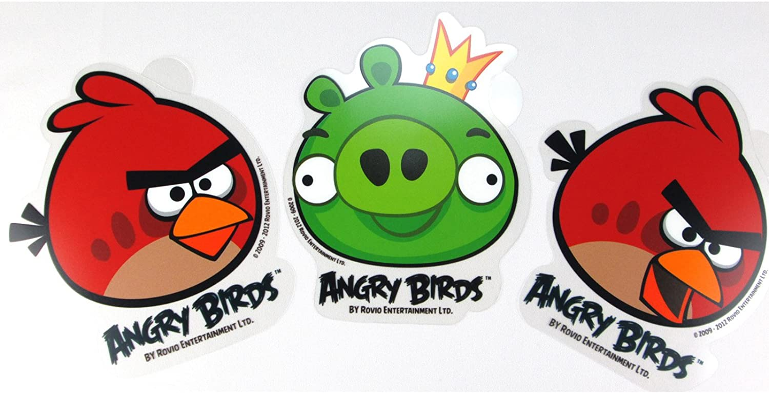 3 Piece Angry Birds Stickers (Two Red Birds and King Pig)  Angry Bird Car Wi...