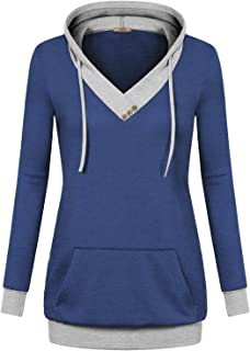 Womens Long Sleeve Color Block Lightweight Pullover Sweatshirt Hoodies