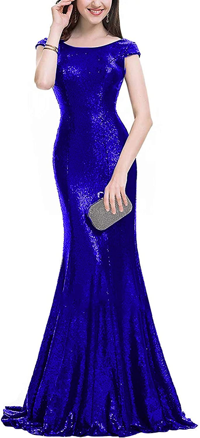 JQLD Women's Sexy Scoop Neck Cap Sleeve Mermaid Sequin Prom Evening Dresses 2019 Long Backless