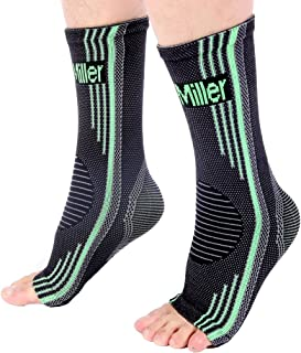 Doc Miller Premium Ankle Brace Compression Support Sleeve Socks for Swollen Foot Plantar Fasciitis Achilles Tendonitis, Use as Injury Support Recovery Eases Pain Swelling 1 Pair (Green, Medium)