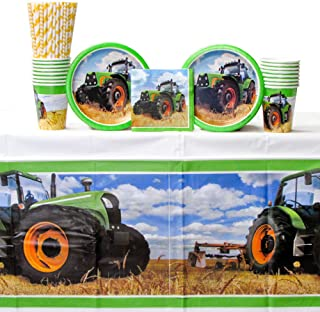 Tractor Time Party Supplies Pack for 16 Guests: Straws, Dessert Plates, Beverage Napkins, Cups, and Table Cover