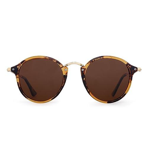 b8e7d02e4b2 JIM HALO Retro Polarized Round Sunglasses for Women Vintage Small Mirror  Glasses
