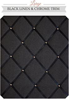 Large Size Black Linen Memo Board with Chrome Studwork