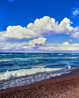View of lakeshore against cloudy sky Great Sand Bay Lake Superior Keweenaw Peninsula Upper Peninsula Alger County Michigan...