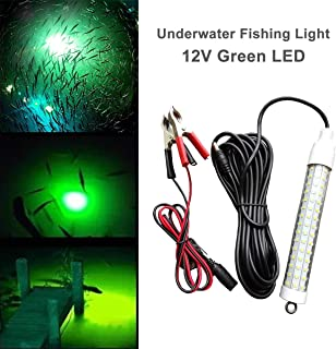EEEKit 12v 10w 120 LEDs 1000 Lumens Lure Bait Finder Night Fishing Boat Submersible Deep Drop Underwater Fishing Light Attractants with Battery Clip