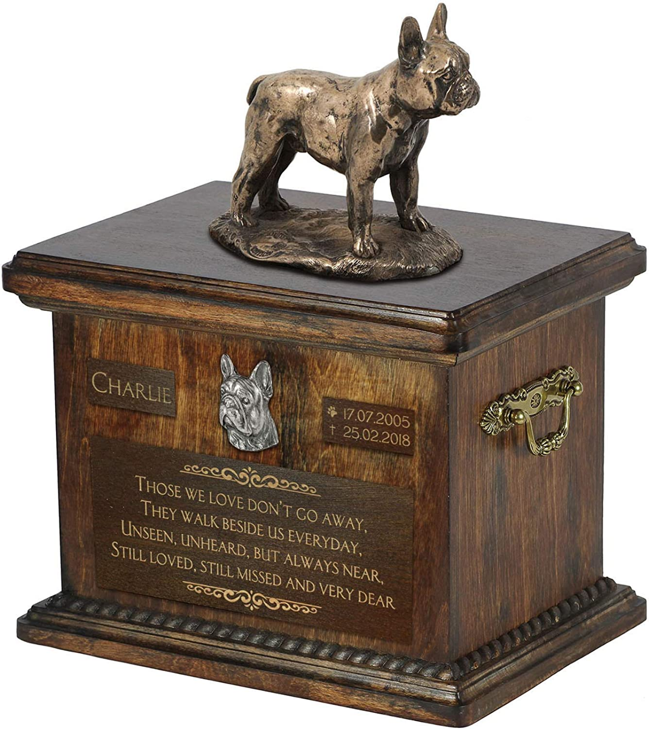 French Bulldog 2, Urn for Dog Ashes Memorial with Statue, Pet's Name and Quote  ArtDog Personalized