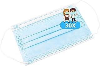TBOC Mascarilla Higiénica Niños No Reutilizable - [Pack 30 Unidades] 3 Capas [Color Azul]