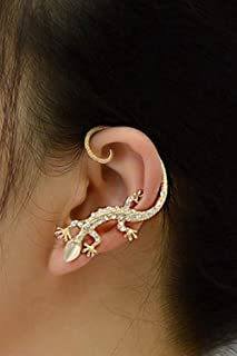 A&C Personality Gecko Earrings for Women, Fashion Eardrop & Dangle for Women. (Gold) (Just for Left Ear)