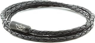 Paper-Ship Armband Neapel VI - Dreifach-gewickelt, Schwarzes geflochtenes Lederarmband 3mm mit Magnetverschluss in Schwarz