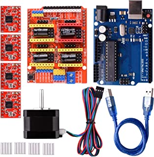Quimat CNC Shield Contoller Kits for 3D Printer, Includes CNC Shield V3.0, UNO Board, Nema 17 Stepper Motor, A4988 Stepper Motor Driver, Heat Sinks, Perfectly Compatible with GRBL