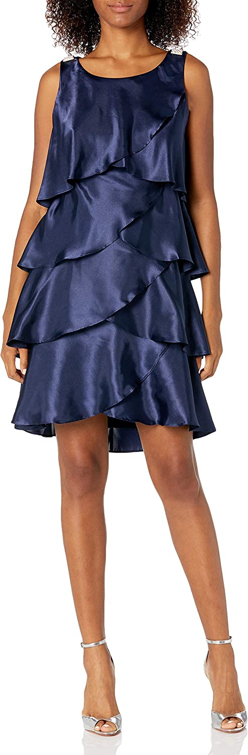 S.L. Fashions Women's Jewel-Strap Tiered Cocktail Party Dress (Petite and Regular)
