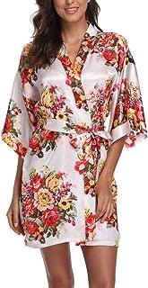 Satin Floral Kimono Robes for Women Short Bridesmaid and Bride Robe for Wedding Party