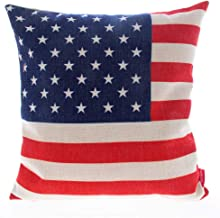 Kingla Home Square Cotton Linen Sofa Cushion Covers Decorative Pillow Cases 18 X 18 Inch American Flag Zippered Custom Throw Pillow Cover