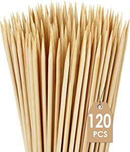 """120 Pcs Natural Bamboo Skewers, 6 Inch Bamboo Sticks for BBQ Appetiser Fruit Cocktail Kabob Chocolate Fountain Candy Apple Grilling Barbecue Kitchen Crafting and Party (0.12""""/3mm Diameter)"""