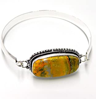 pratik-jewel Huge Bumble Bee Jasper Handmade Jewelry 925 Sterling Silver Plated Bangle 19 Gm