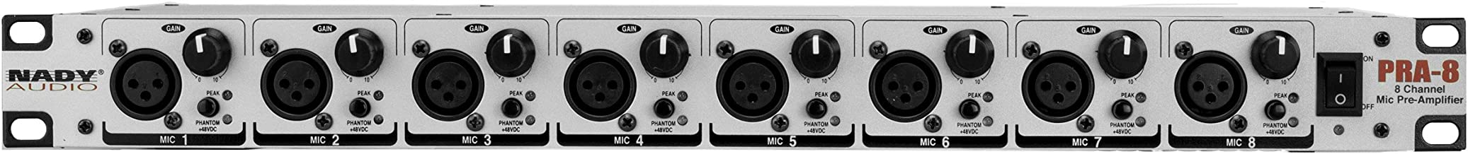 """Nady PRA-8 Microphone Preamplifier - Eight independent preamplifiers, fits in single rack space, eight XLR inputs & eight 1/4"""" outputs"""