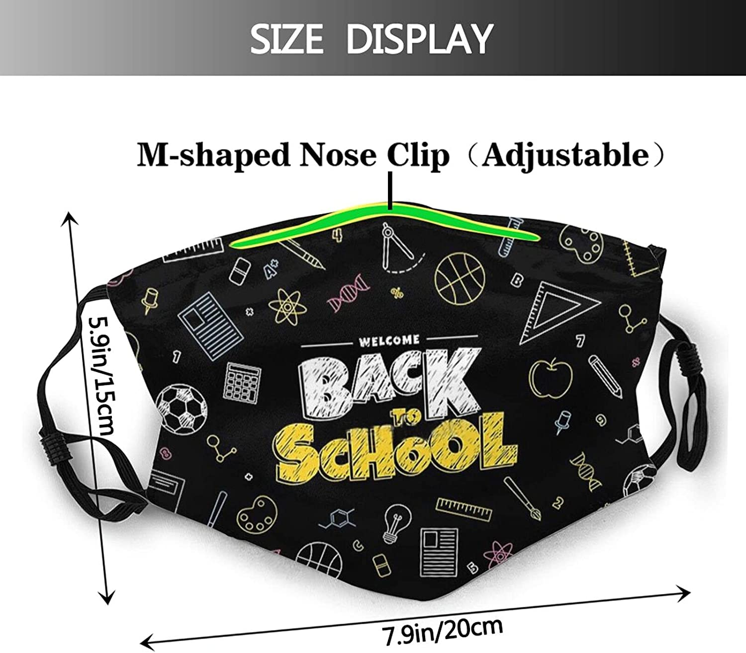 PIECERY Back to School Math Mask Balaclava,Reusable Mouth Cover for Women Men Adult Cloth Masks Scarf with 2 Pcs Filters