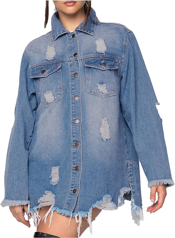 Women's Jean Jacket Long Sleeve Classic Distressed Fray Hem Tassels Boyfriend Denim Trucker Jackets Outercoat