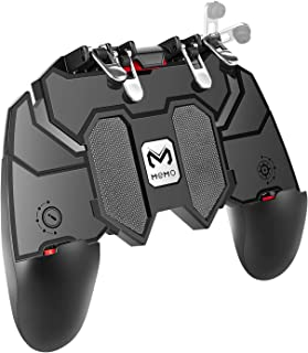 DELAM Mobile Game Controller with L1R1 L2R2 Triggers, PUBG Mobile Controller 6 Fingers Operation, Joystick Remote Grip Shooting Aim Keys for 4.7-6.5