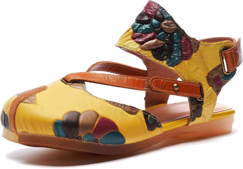 Bequeme Bequeme Flache Sommerschuhe im Ethno-Stil für Damen Retro Casual Sandalen aus echtem Leder mit Klettverschluss  2018 speichern