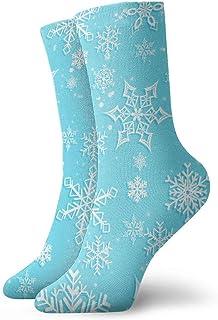 tyui7, Calcetines de compresión antideslizantes de copos de nieve blancos Cosy Athletic 30cm Crew Calcetines para hombres, mujeres, niños