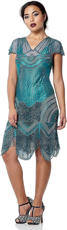 Gatsbylady london Beatrice Vintage Inspired Fringe Flapper Dress in Teal  Quality Handmade Flapper Dresses for Women