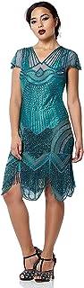 Beatrice Vintage Inspired Fringe Flapper Dress in Teal - Quality Handmade Flapper Dresses for Women