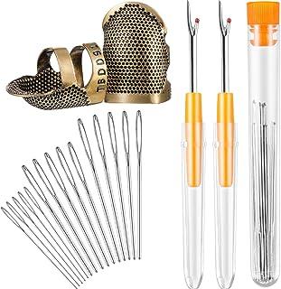 Hestya Nähwerkzeug Kit, 2 Stück Nähen Fingerhut Fingerschutz Kupfer Einstellbare Fingerschutz und 2 Stück Naht Stitch Ripper und 15 Stück Groß Auge Garn Stricknadeln