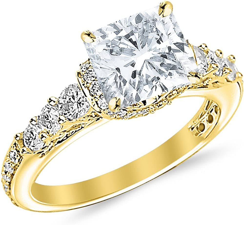 1.75 Ctw 14K Rapid rise White Gold Designer Four GIA Prong Set Pave C Round NEW before selling
