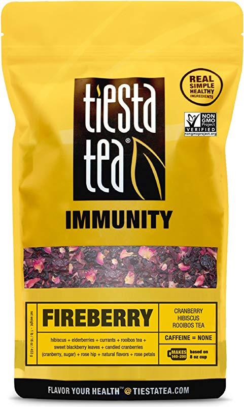 Tiesta Tea Fireberry Cranberry Hibiscus Rooibos Tea 200 Servings 1 Pound Bag Caffeine Free Loose Leaf Herbal Tea Immunity Blend Non GMO