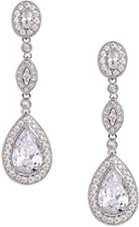 SWEETV Cubic Zirconia Teardrop Wedding Bridal Earrings for Women,Bridesmaids,Brides - Crystal Rhinestones Dangle Earrings Jewelry
