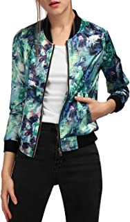 Women's Stand Collar Zip Up Floral Prints Bomber Jacket