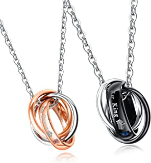MONIYA 2pcs Black/ Rose Gold Plated Stainless Steel Cubic Zirconia Couple Necklaces His and Hers Matching Set