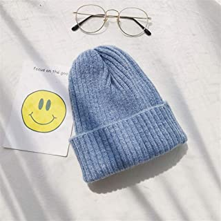 OULUOBA Ms. autumn and winter wool cap knitted hat female winter hat solid color (Color : Light blue, Size : Adjustable)