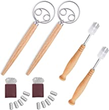 AFYHA Stainless Steel Danish Dough Whisk and Bread Lame with 5 Replacement Blades for Cake Dessert Bread pastry, pizza. Great alternatives to a blender, mixer or hook (2 set)