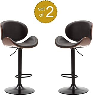 Decor Hut Bar Stool Adjustable Height 360-Degree Swivel | Walnut Bentwood Curved Back Leather Upholstered Wood Finish | Set of 2 Chairs