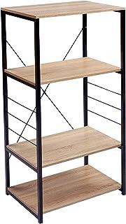 WOLTU RGB9365hei półka kuchenna stojąca półka kuchenna półka piekarnicza półka metalowa wykonana z drewna i stali, z 4 pół...