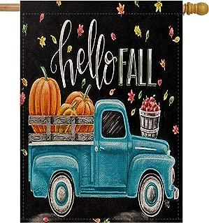 Selmad Hello Fall 28 x 40 House Flag Pumpkin Farm Truck Double Sided Quote, Autumn Leaves Harvest Burlap Garden Yard Décor, Farmhouse Country Seasonal Home Outdoor Vintage Decorative Large Flag