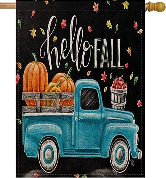 Selmad Hello Fall 28 X 40 House Flag Pumpkin Farm Truck Double Sided Quote Autumn Leaves Harvest Burlap Garden Yard D Cor Farmhouse Country Seasonal Home Outdoor Vintage Decorative Large Flag