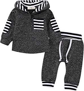 Infant Toddler Baby Boys Girls Fall Clothes Hoodie Outfit Christmas Plaid Sweatshirt +Pants Winter Clothes Set Kids