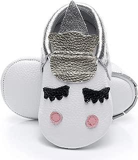 HONGTEYA Leather Baby Moccasins - Golden Unicorn for Boys Girls Toddler Crib Shoes