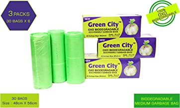 Green City OXO BIO-DEGRADABLE ECO-Friendly Garbage Bags Medium | Disposable Dustbin Bags | (Pack of 3)