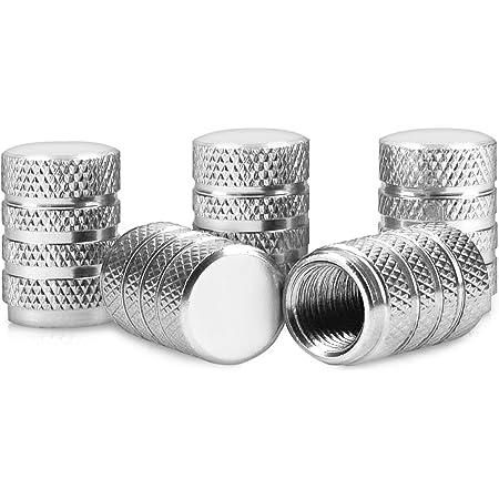 5x Ventilkappen Lang Leicht Riffel Metall Mit Gummiring Dichtung Farbe Silber Chrom Ventilkappe Vslr Auto