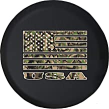 556 Gear USA American Flag Camo Hunting Patriotic Camper Spare Tire Cover fits SUV Camper RV Accessories with Grommets Black 32 in