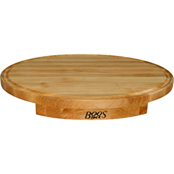 John Boos Block CCS24180125 Corner Counter Saver Maple Wood Oval Cutting Board with Juice Groove, 24 Inches x 18 Inches x 1.25 Inches