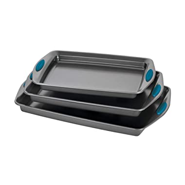 Rachael Ray Bakeware Nonstick Cookie Pan Set, 3-Piece, Gray with Marine Blue Grips